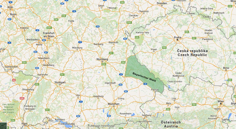 Bayerischer Wald er i grove trekk området som er markert med mørkegrønt på dette kartet.