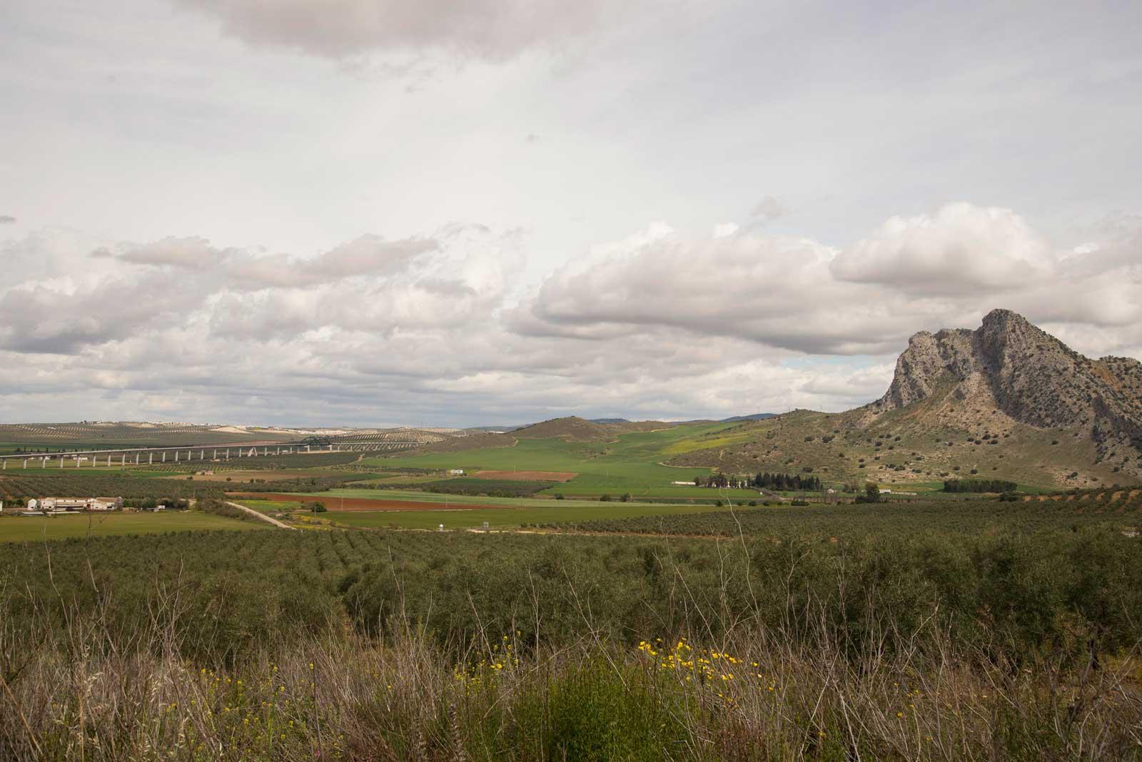Flatt landskap, med noen fjell lengst mot øst
