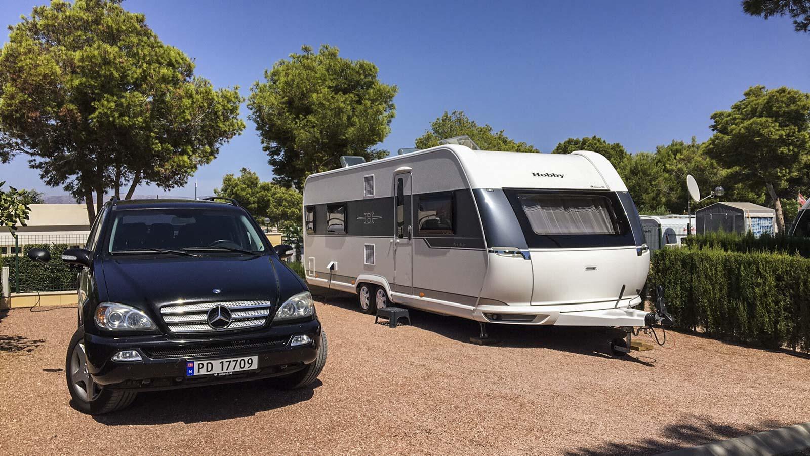 Ferdig parkert i Albir etter 2400 km på 50 timer.