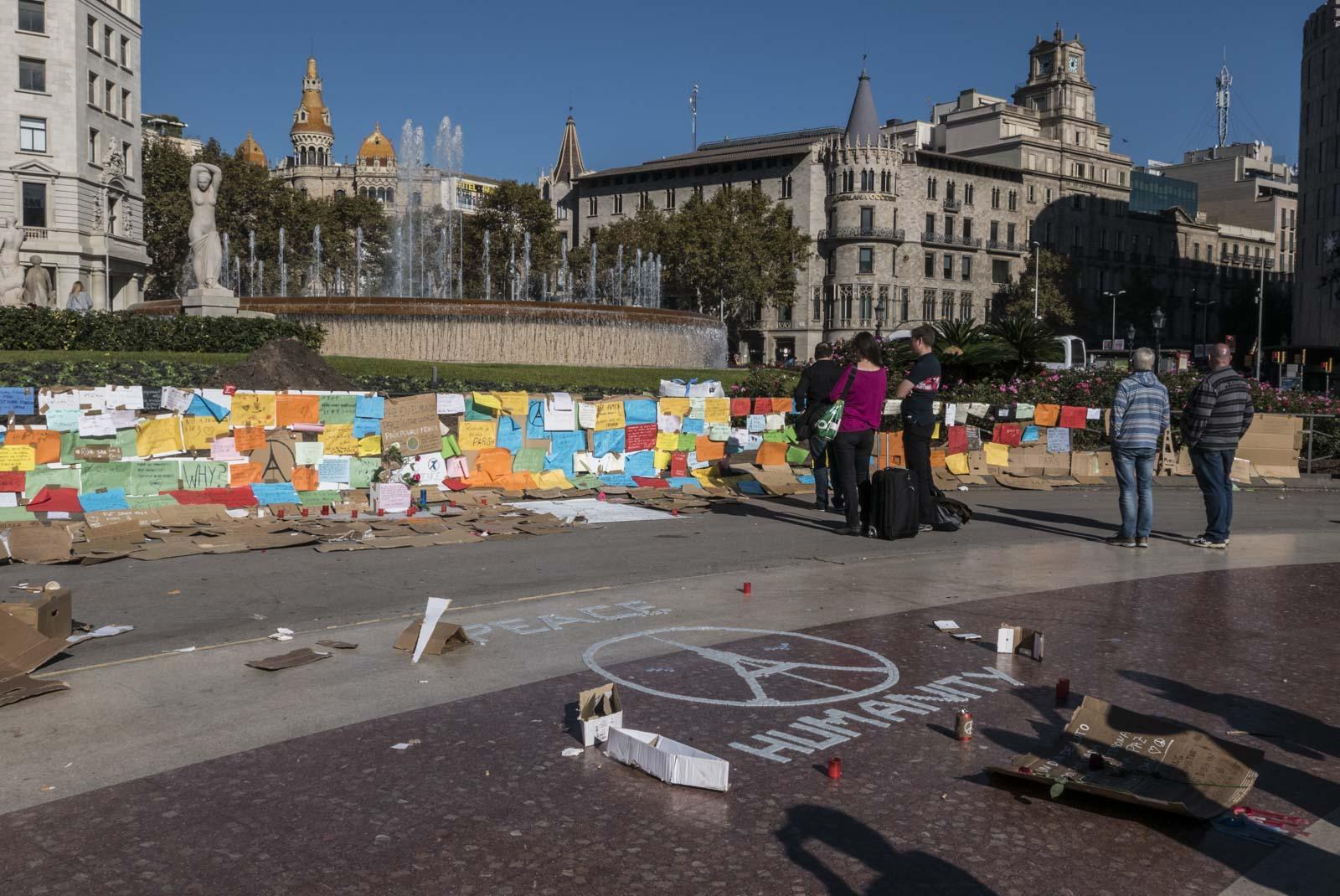 Terrormarkering på Placa Catalunya